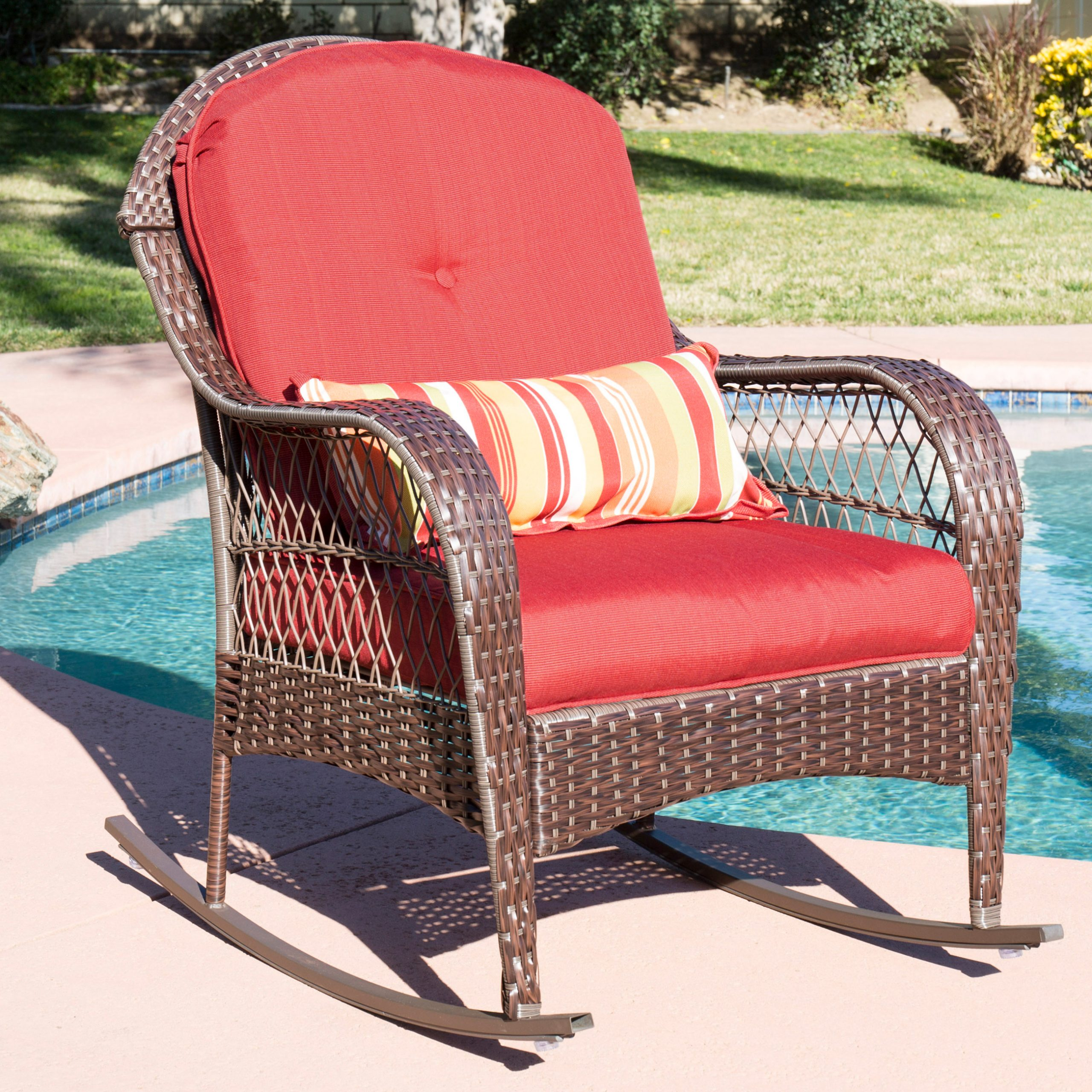 Best Choice Products Outdoor Wicker Patio Rocking Chair W Inside Recent Rocking Benches With Cushions (View 2 of 30)