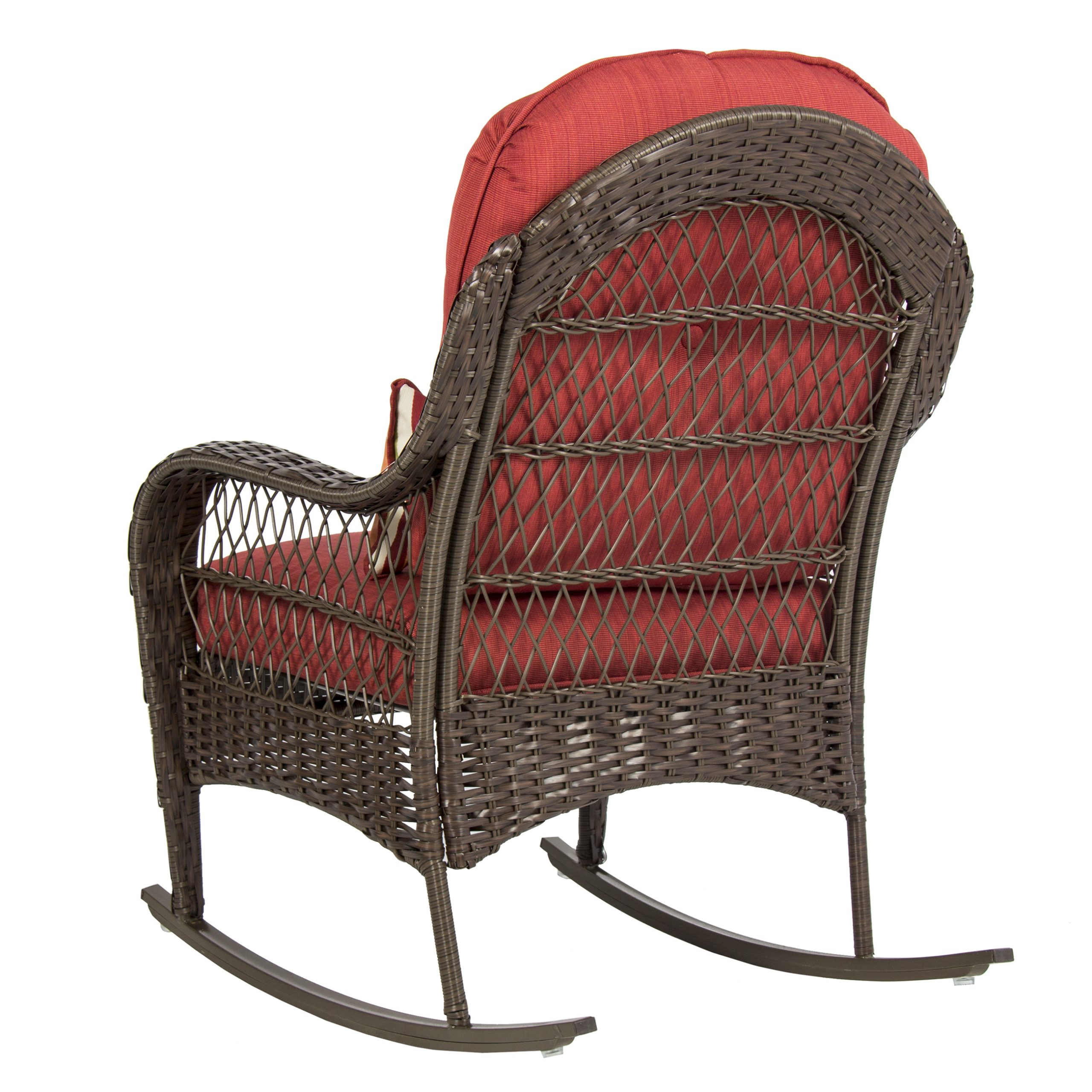 Best Choice Products Outdoor Wicker Patio Rocking Chair W Pertaining To Famous Rocking Benches With Cushions (View 3 of 30)