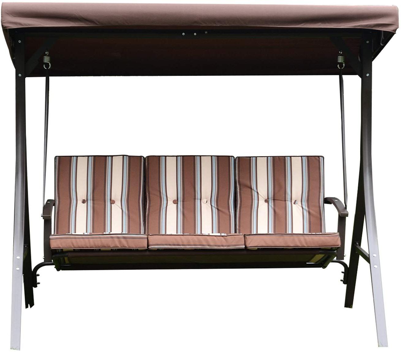 Bestmart Inc Outdoor 3 Person Canopy Swing Glider Hammock Chair Patio Backyard Love Seat Beach Porch Furniture (brown Beige Stripes) Regarding Well Known 3 Person Brown Steel Outdoor Swings (View 20 of 30)