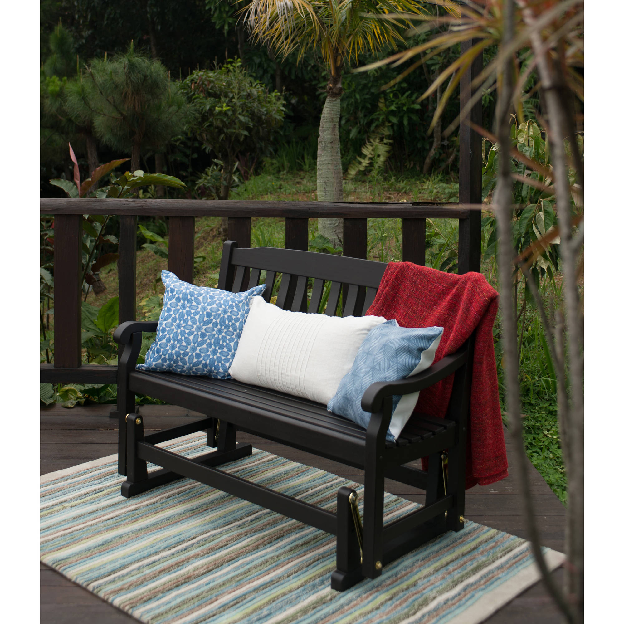 Better Homes & Gardens Delahey Outdoor Glider Bench, Dark Regarding Fashionable Glider Benches With Cushions (Gallery 8 of 30)