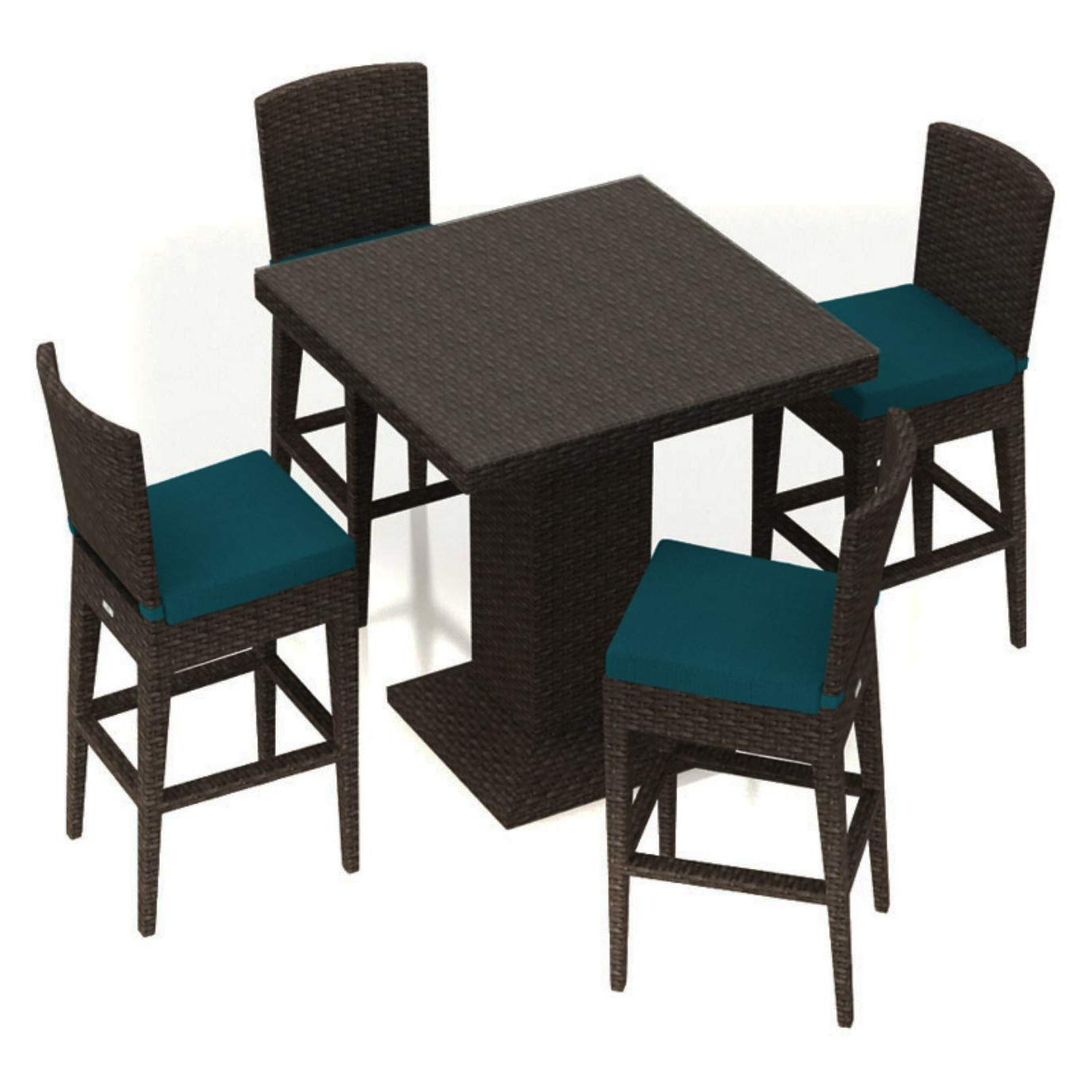Bistro Transitional 4 Seating Square Dining Tables For Latest Amazon: Patio Dining Set. Outdoor, Bar Height Furniture (Gallery 23 of 30)