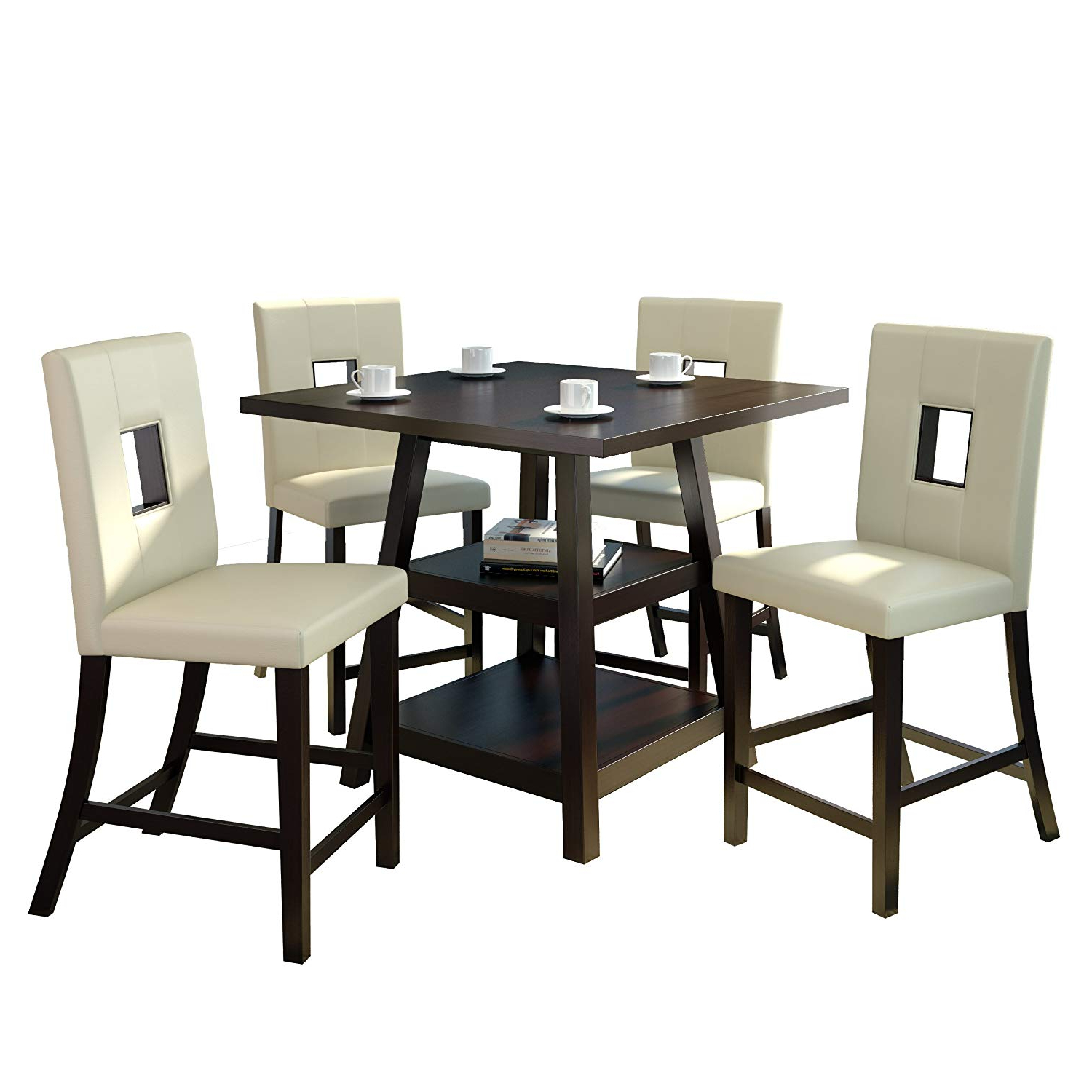 """Bistro Transitional 4 Seating Square Dining Tables Inside Current Corliving Bistro Dining Set, 36"""", Cappuccino/white (View 9 of 30)"""
