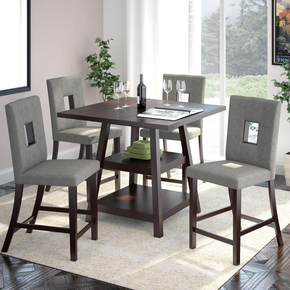 """Bistro Transitional 4 Seating Square Dining Tables Throughout Best And Newest Details About Bistro 5pc 36"""" Counter Height Cappuccino Dining Set – Pewter Grey (View 14 of 30)"""