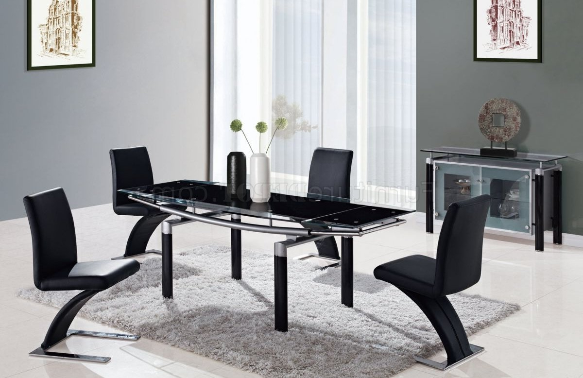 Black Modern 88 Dt Dining Table W/black Glass Top & Options With Regard To Most Recent Dining Tables With Black U Legs (View 6 of 30)