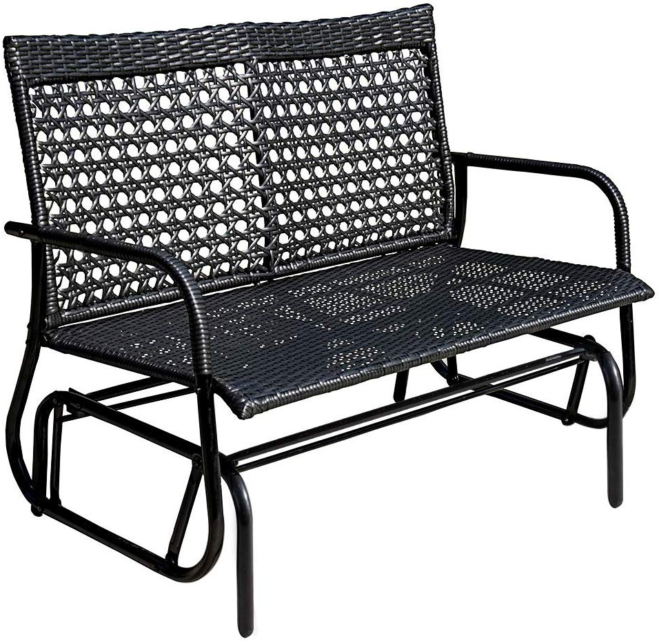 Black Outdoor Durable Steel Frame Patio Swing Glider Bench Chairs Within Widely Used Sundale Outdoor 2 Person Wicker Loveseat Glider Bench Chair Patio Porch  Swing With Rocker,black Wicker (View 11 of 30)