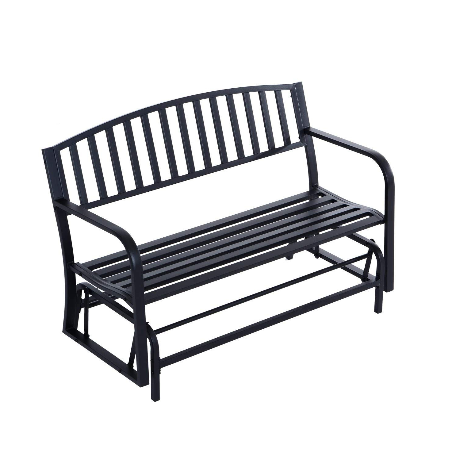 "Black Steel Patio Swing Glider Benches Powder Coated With Regard To Most Recently Released Amazon : Youwend 50"" Outdoor Steel Patio Swing Glider (View 8 of 30)"