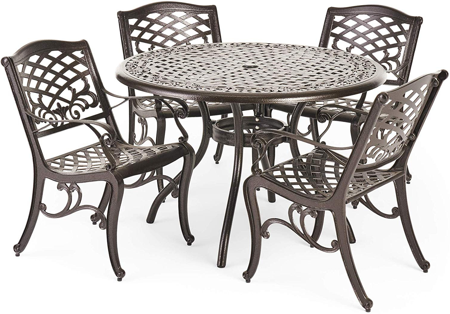 Black Top Large Dining Tables With Metal Base Copper Finish Inside Newest Hallandale Outdoor Furniture Dining Set, Cast Aluminum Table And Chairs For Patio Or Deck (5 Piece Set) (View 21 of 30)