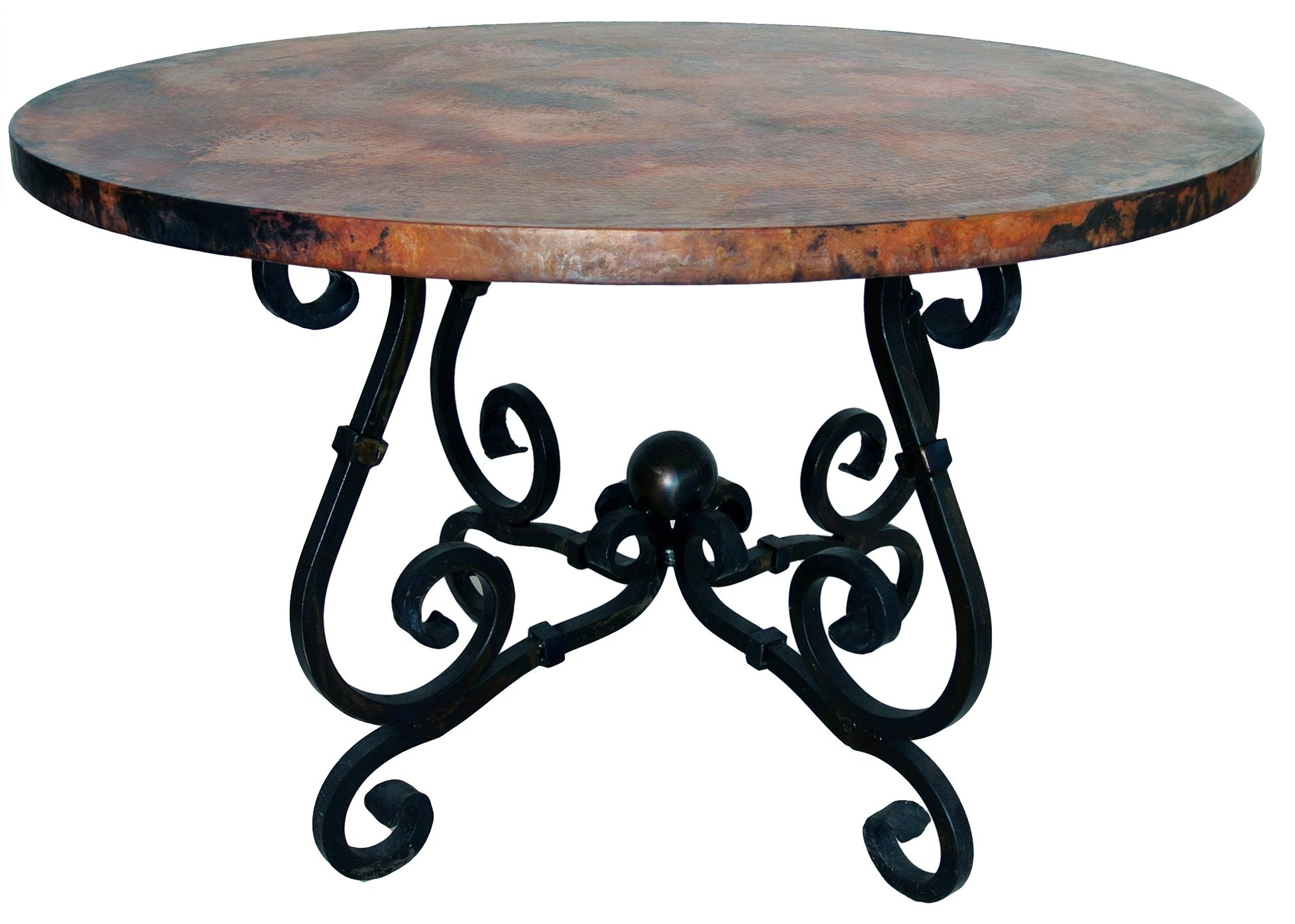 Featured Photo of Black Top Large Dining Tables With Metal Base Copper Finish