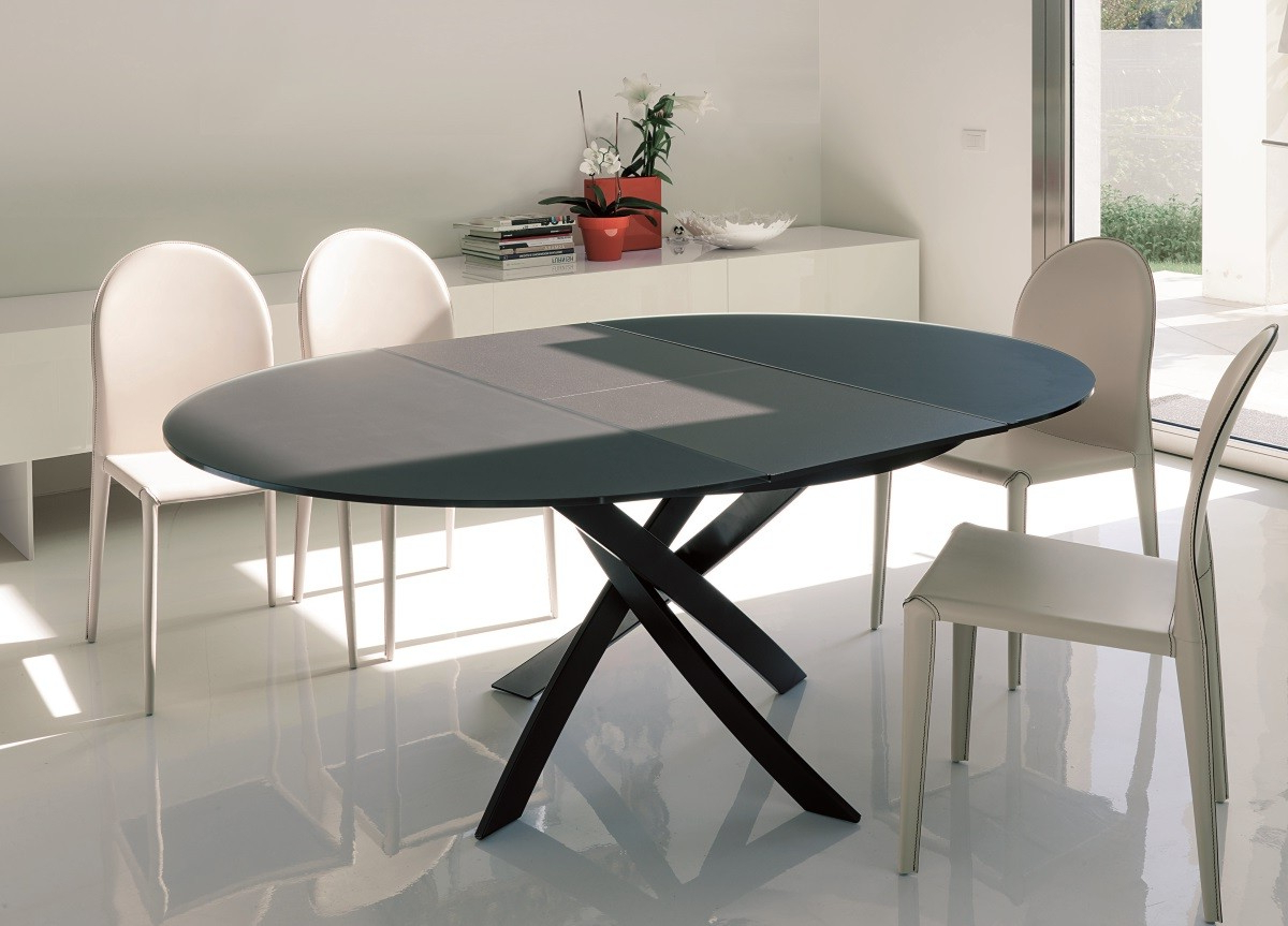 Bontempi Barone Extending Dining Table – Dining Tables Regarding Current Modern Glass Top Extension Dining Tables In Matte Black (View 8 of 30)
