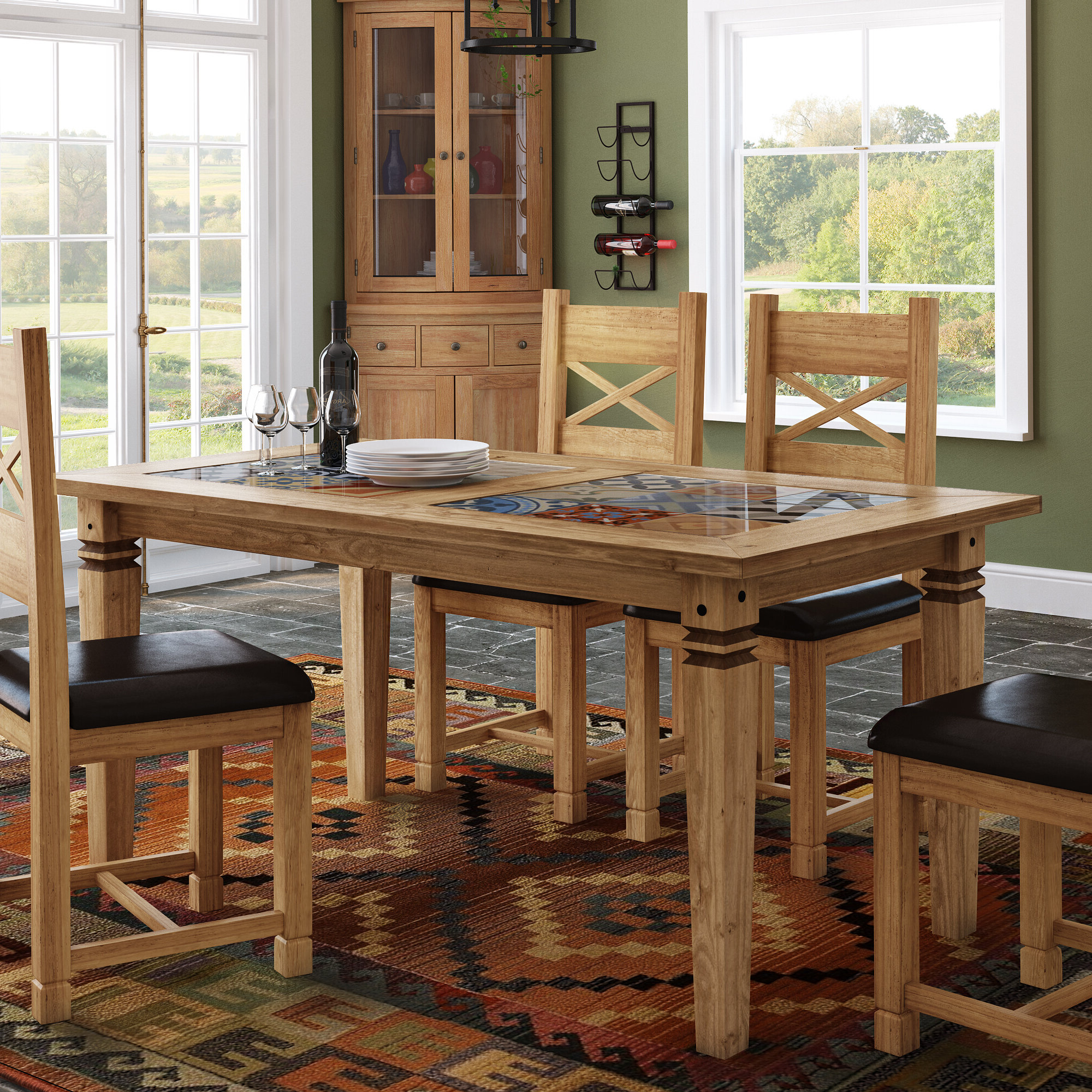 Boundary Ridge Tile Top Dining Table With Well Known Wood Top Dining Tables (Gallery 5 of 30)
