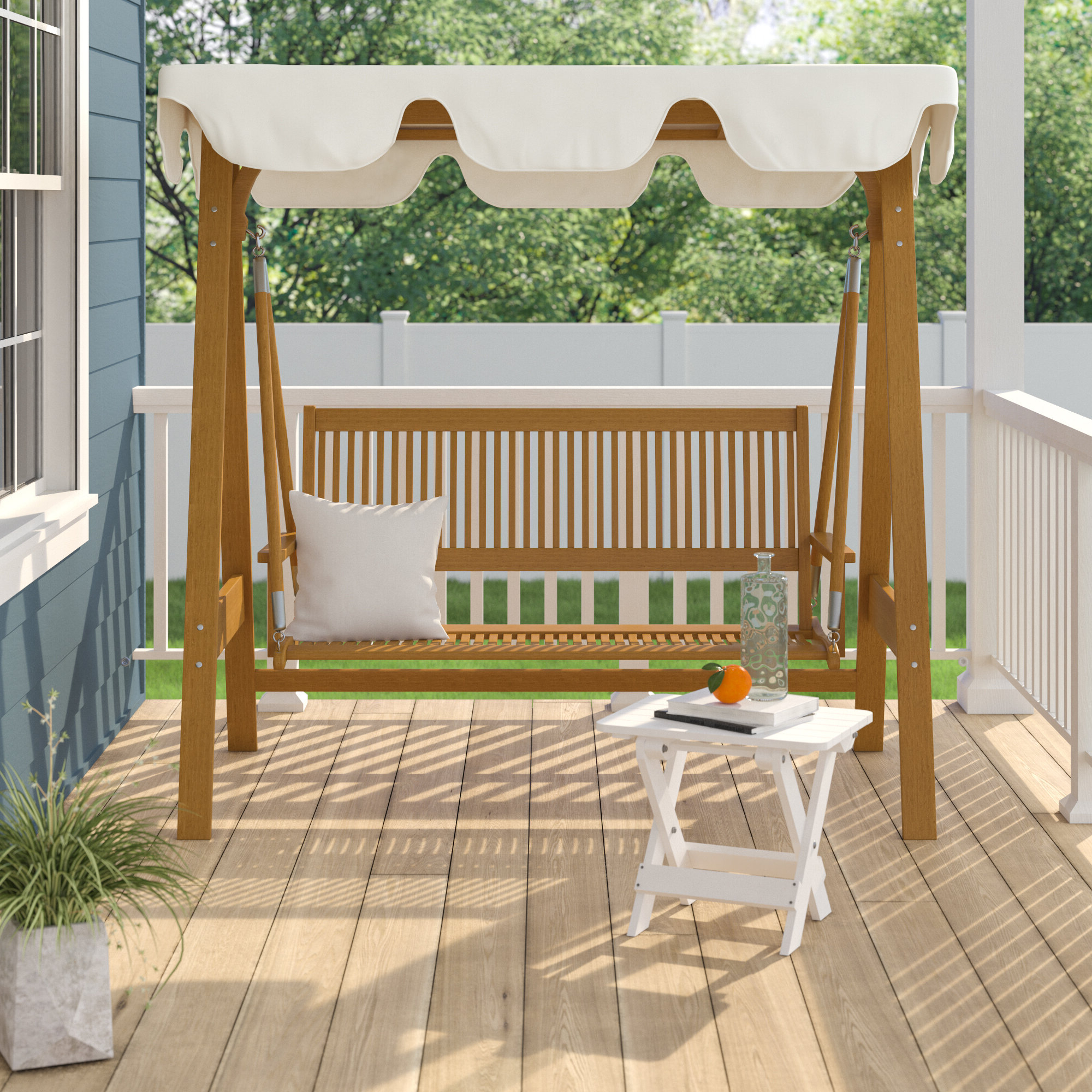 Breakwater Bay Sabbattus 3 Seater Balau Swing With Frame And Inside Most Up To Date 2 Person Light Teak Oil Wood Outdoor Swings (Gallery 26 of 30)
