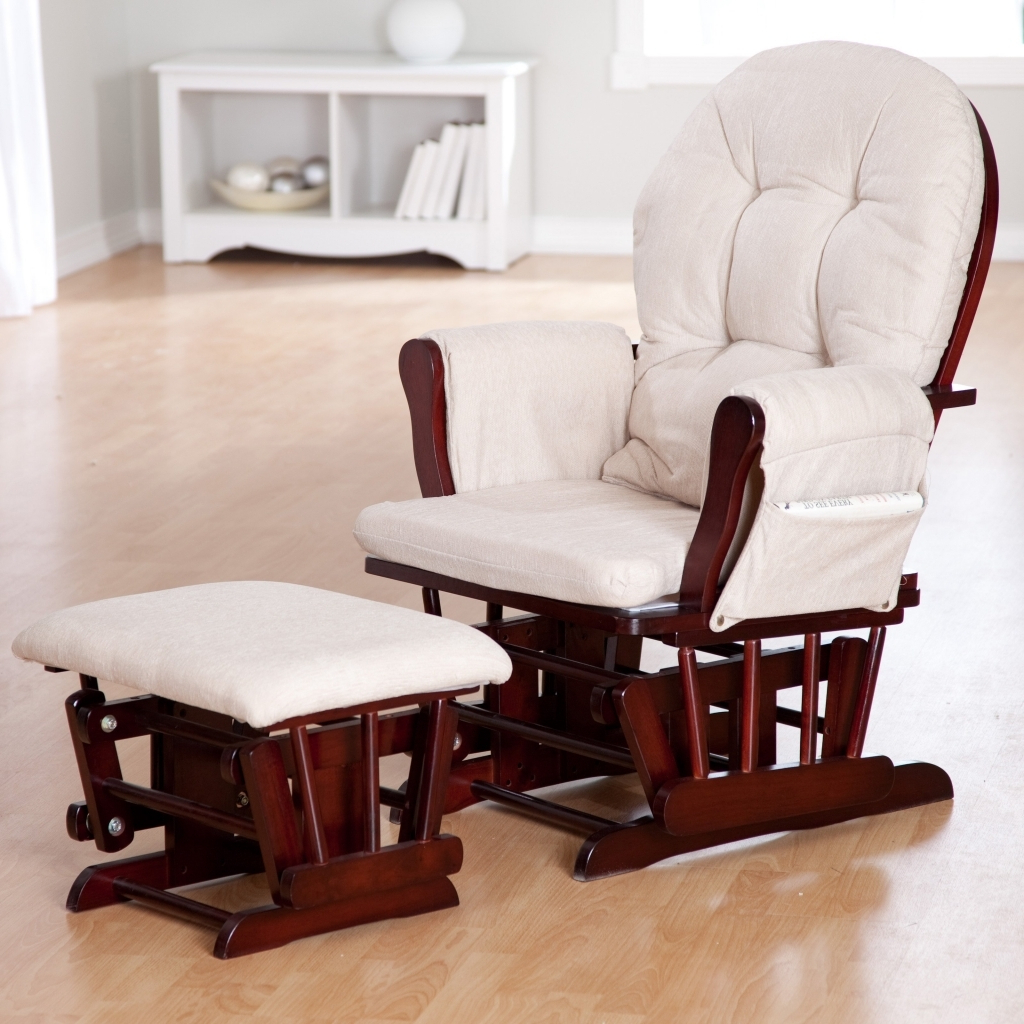 Brilliant Oak Glider Rocking Chair Amish Solid Rocker For Trendy Rocking Glider Benches With Cushions (Gallery 19 of 30)