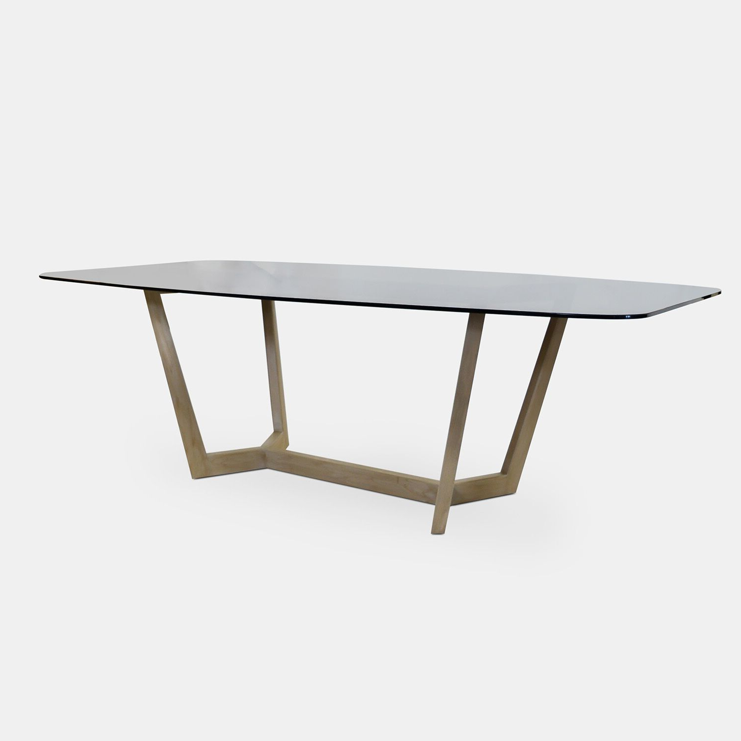 Bronze Glass Top Dining Table & Solid Wood Oak Base – Rotsen With Regard To Latest Smoked Oval Glasstop Dining Tables (View 19 of 30)