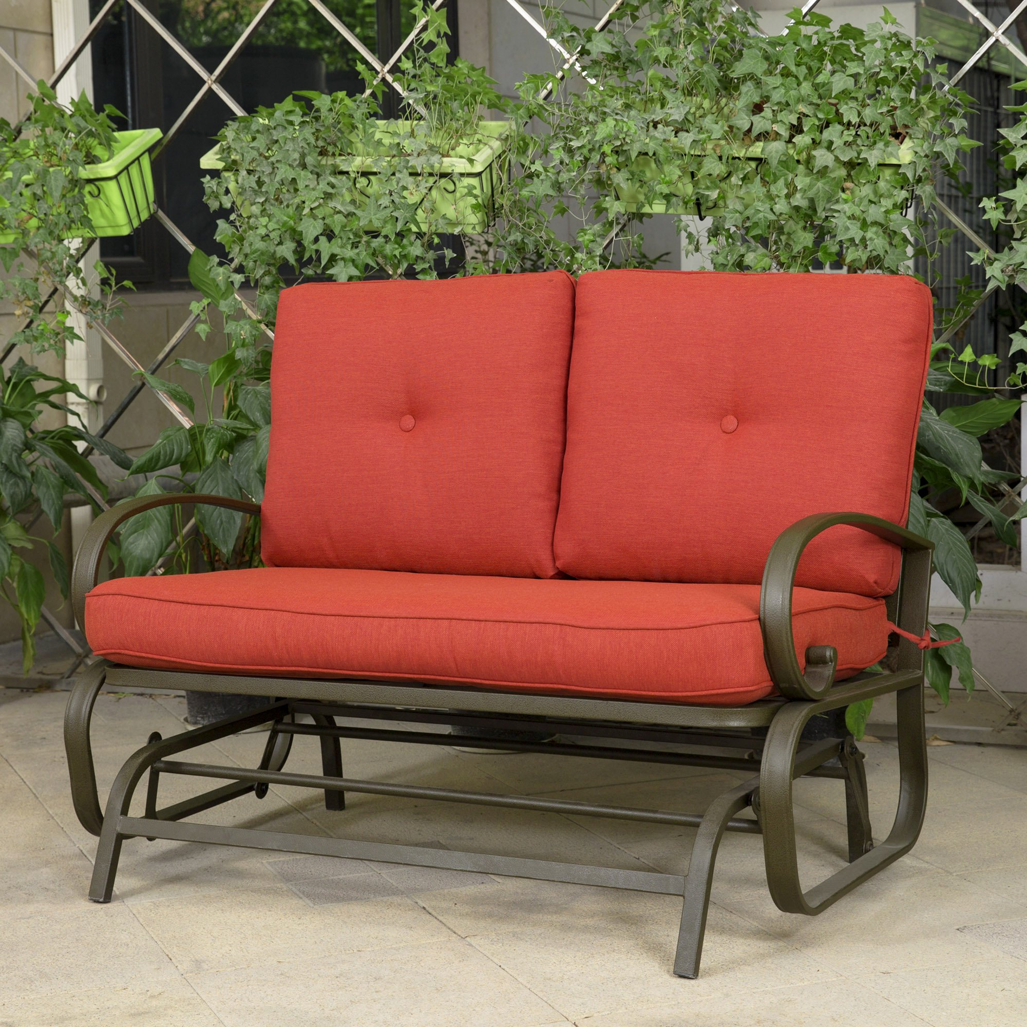 Buy Outdoor Patio Leisure Swing Rocker Glider Bench Loveseat With Most Popular Outdoor Steel Patio Swing Glider Benches (Gallery 29 of 30)