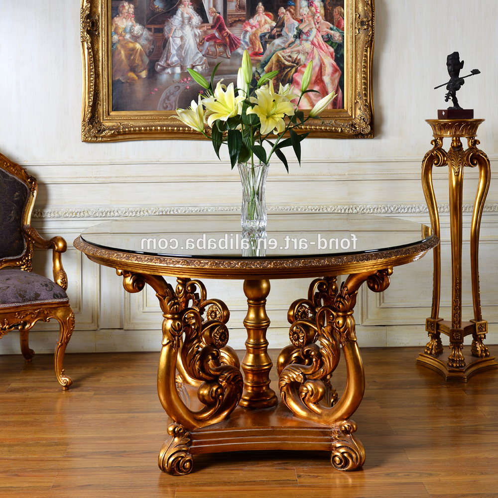 C229 Classic Antique Style Glass Top Round Dining Table Wholesales – Buy  Glass Top Dining Table,antique Style Dining Table,round Dining Table With Regard To Best And Newest Round Dining Tables With Glass Top (View 30 of 30)