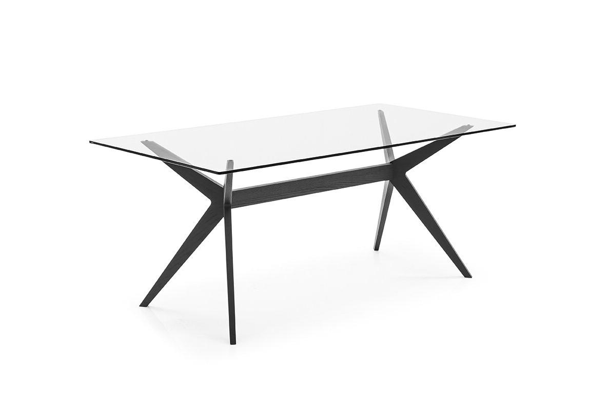 Calligaris Kent – Table – Transparent Tempered Glass Top Inside Well Known Frosted Glass Modern Dining Tables With Grey Finish Metal Tapered Legs (View 29 of 30)