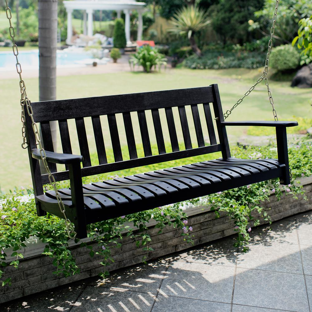 Cambridge Casual Thames Black Wood Porch Swing Throughout Favorite Porch Swings (Gallery 23 of 30)