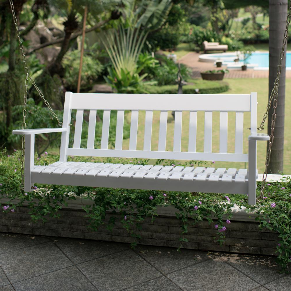 Cambridge Casual Thames White Wood Porch Swing In Newest Casualthames Black Wood Porch Swings (View 13 of 30)