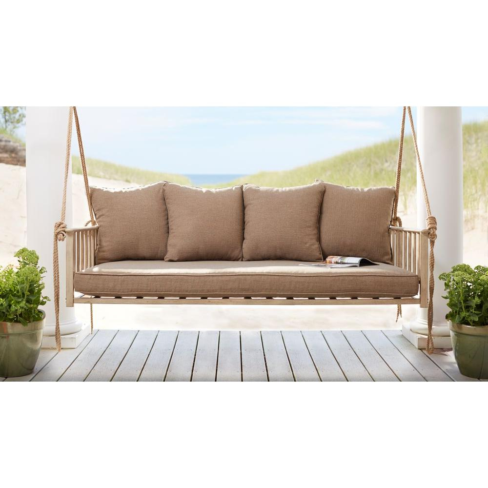 Cane Patio Outdoor Patio Swing With Square Back Cushions Within Recent 2 Person Adjustable Tilt Canopy Patio Loveseat Porch Swings (Gallery 21 of 30)