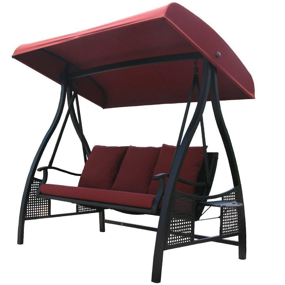 Canopy Patio Porch Swing With Stand Pertaining To Popular Abba Patio 3 Person Outdoor Metal Gazebo Padded Porch Swing (Gallery 28 of 30)