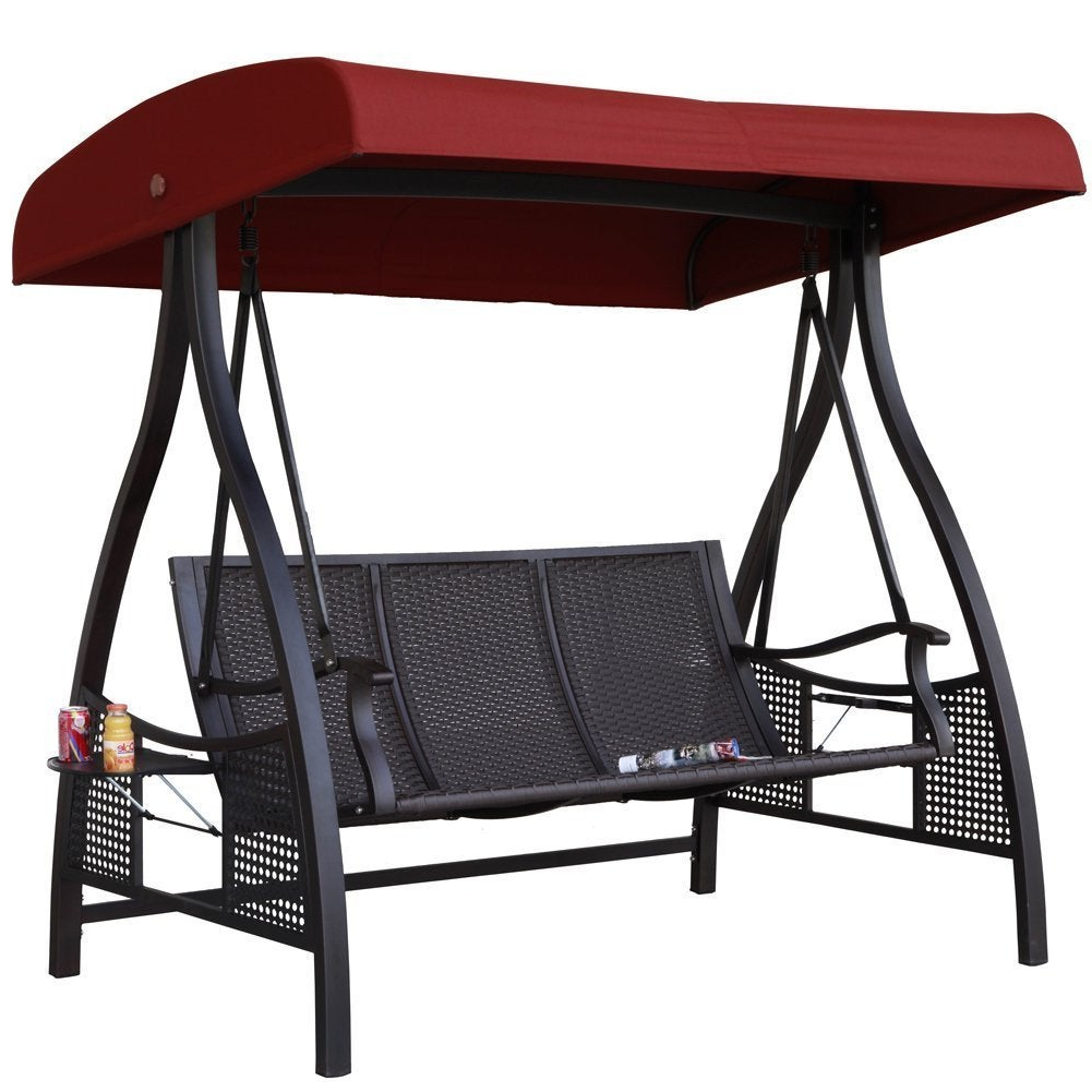 Canopy Patio Porch Swing With Stand Regarding Most Current Havenside Home Baddeck Outdoor Red 3 Seat Porch Swing With Adjustable Polyester Canopy (View 24 of 30)