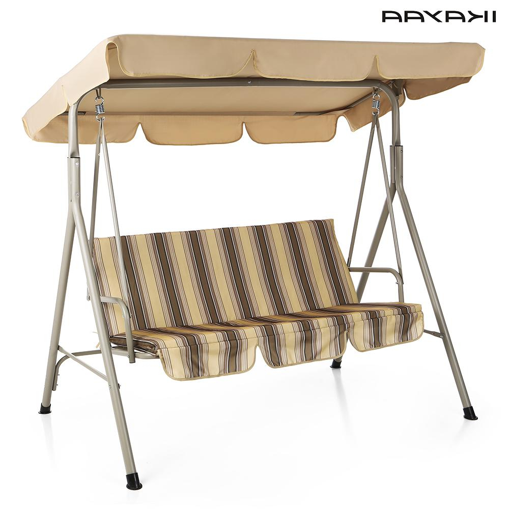 Canopy Patio Porch Swing With Stand Within Most Up To Date Ikayaa 3 Person Seater Patio Canopy Swing Glider Outdoor (Gallery 15 of 30)