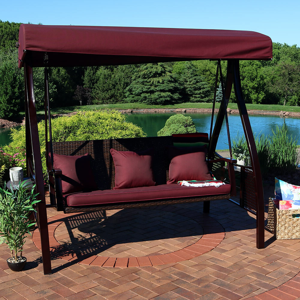 Canopy Patio Porch Swings With Pillows And Cup Holders Pertaining To Well Known Porch Swings You'll Love In 2020 (Gallery 5 of 30)