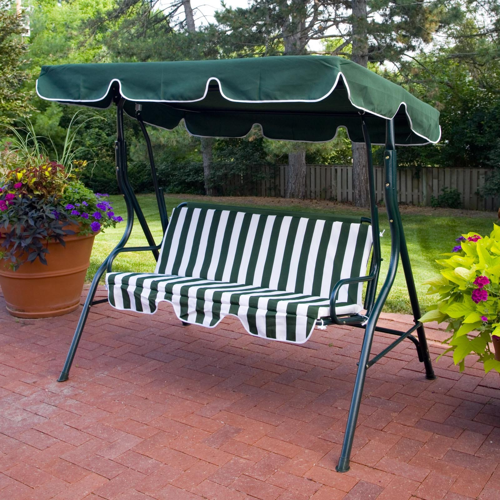 Canopy Porch Swing Sets Within Well Known Canopy Patio Porch Swing With Stand (Gallery 29 of 30)