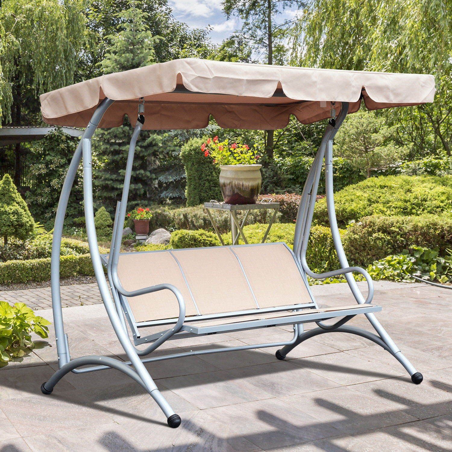 Canopy Porch Swings In Favorite 3 Person Steel Outdoor Patio Porch Swing Chair With Adjustable Canopy Rocker (Gallery 25 of 30)