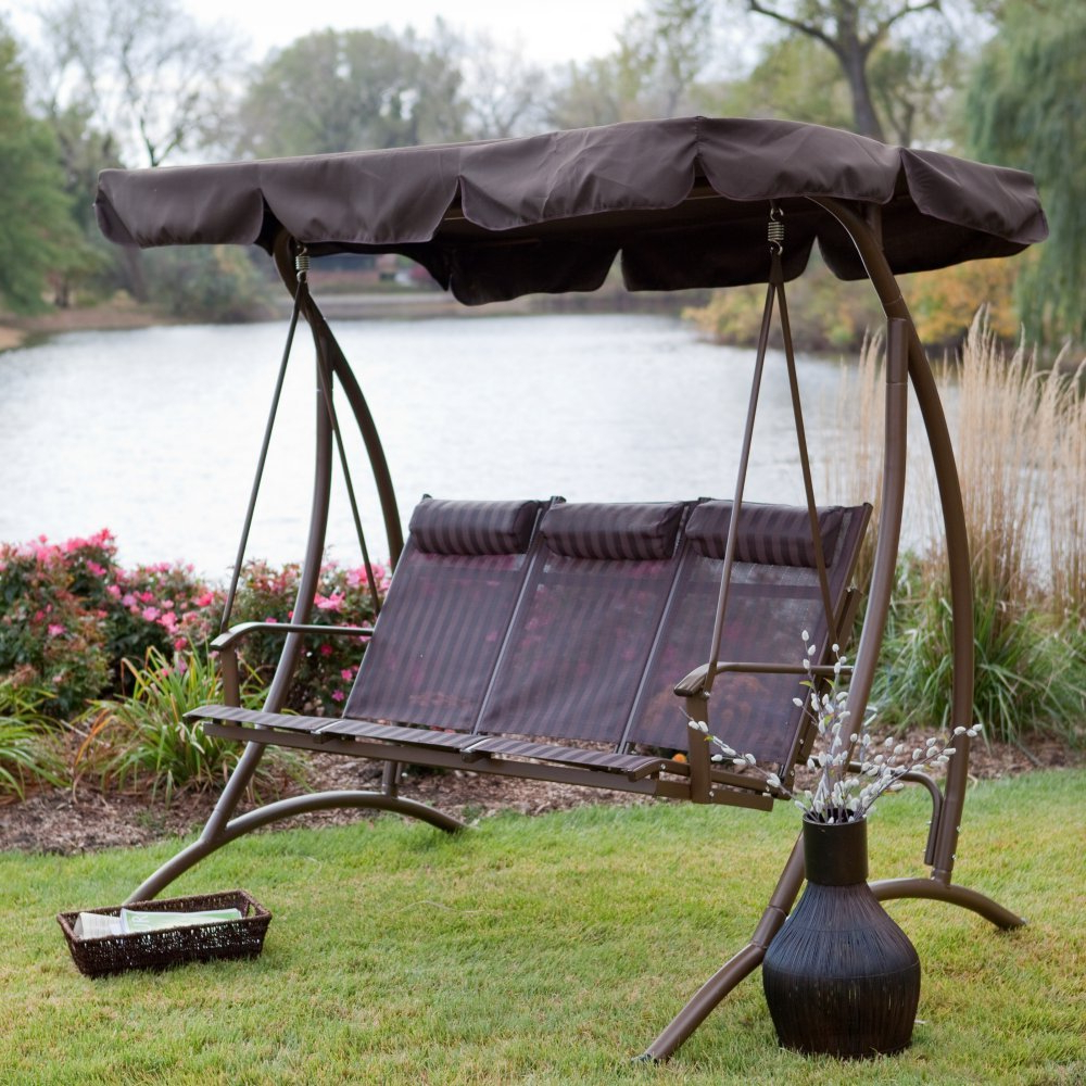 Canopy: Yard Swings With Canopy For Most Current 3 Person Brown Steel Outdoor Swings (Gallery 27 of 30)