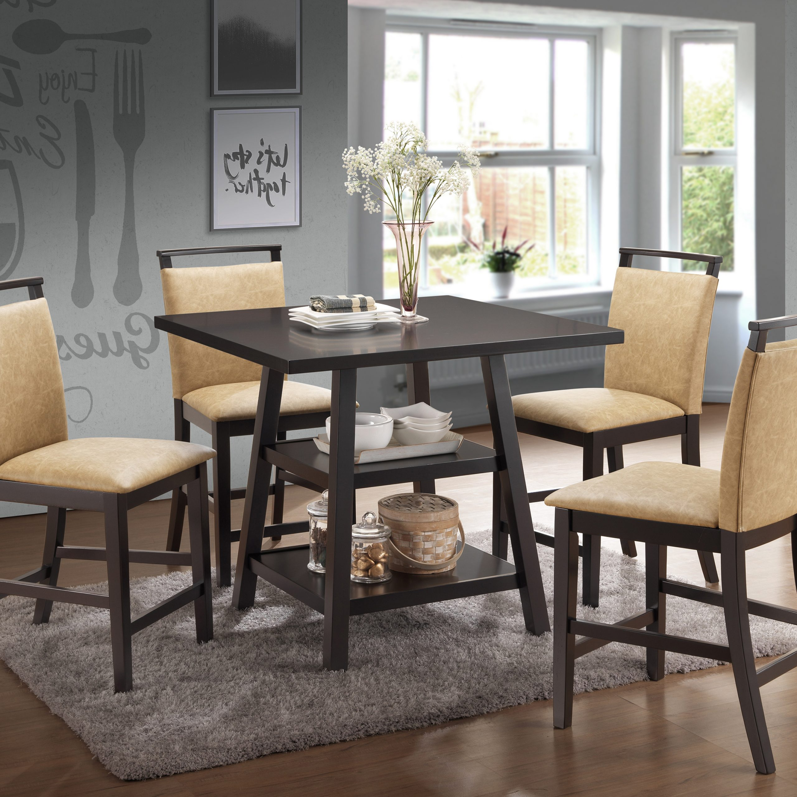 Cappuccino Finish Wood Classic Casual Dining Tables For 2018 Details About Kings Brand Aloe Cappuccino Counter Height Table & 4 Coffee  Upholstered Chairs (Gallery 23 of 30)