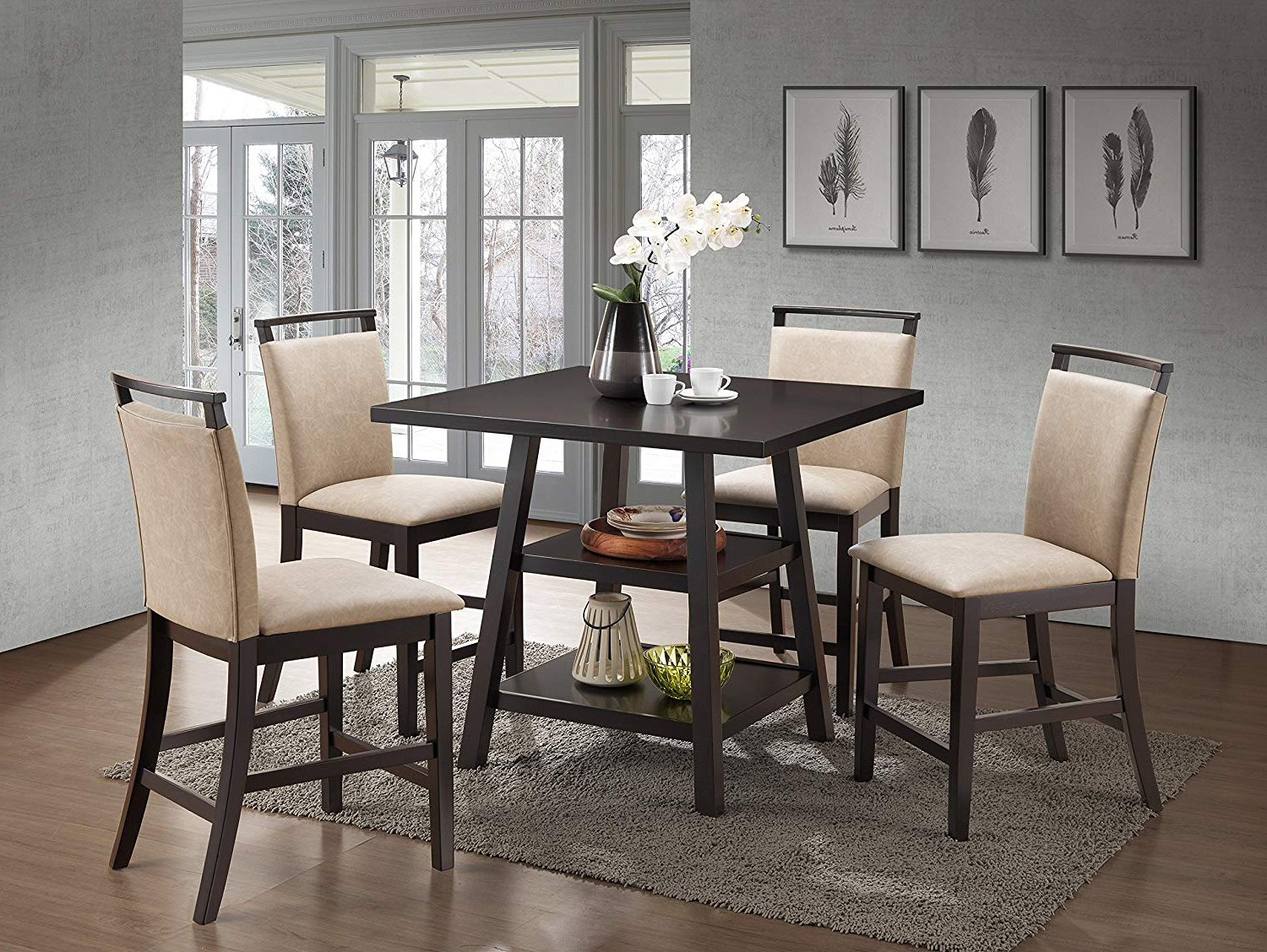 Cappuccino Finish Wood Classic Casual Dining Tables In Current Kings Brand Aloe 5 Piece Cappuccino Wood Counter Height Dining Set, Table  With 4 Clay Upholstered Chairs (View 7 of 30)