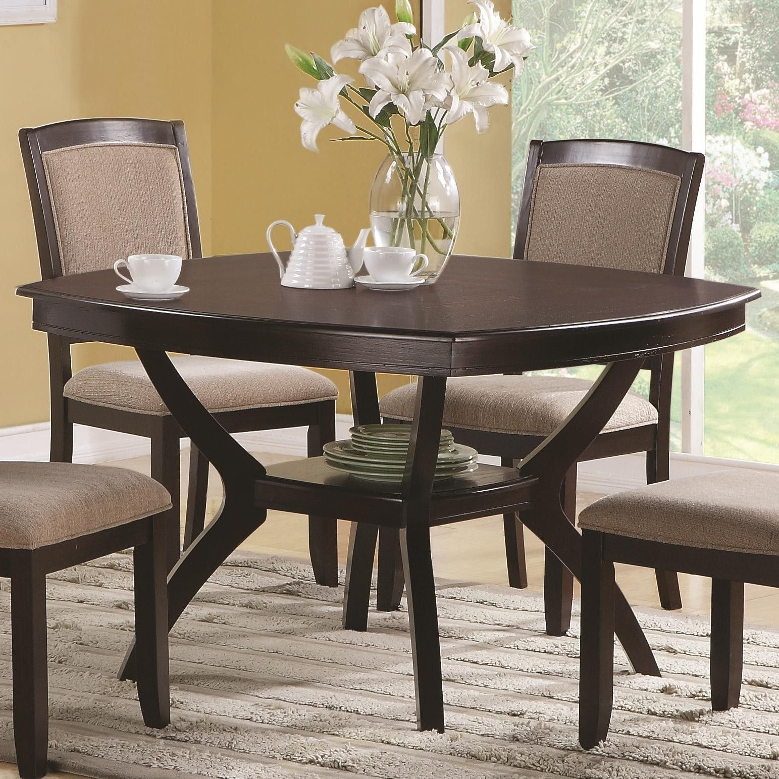 Casual Rounded Edge Square Dining Table Cappuccino Coaster Regarding Recent Atwood Transitional Square Dining Tables (View 15 of 30)