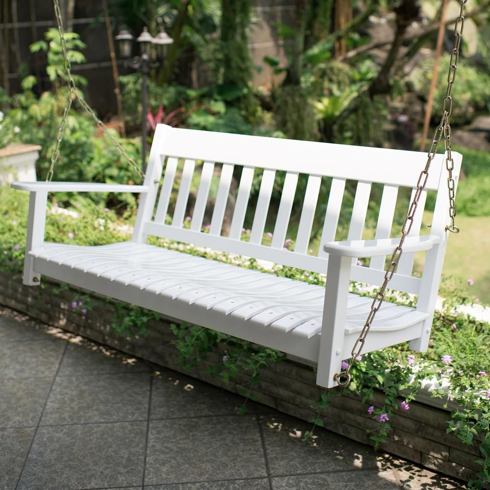 Casualthames Black Wood Porch Swings Regarding Widely Used Cambridge Casual Thames White Wood Porch Swing In (View 3 of 30)