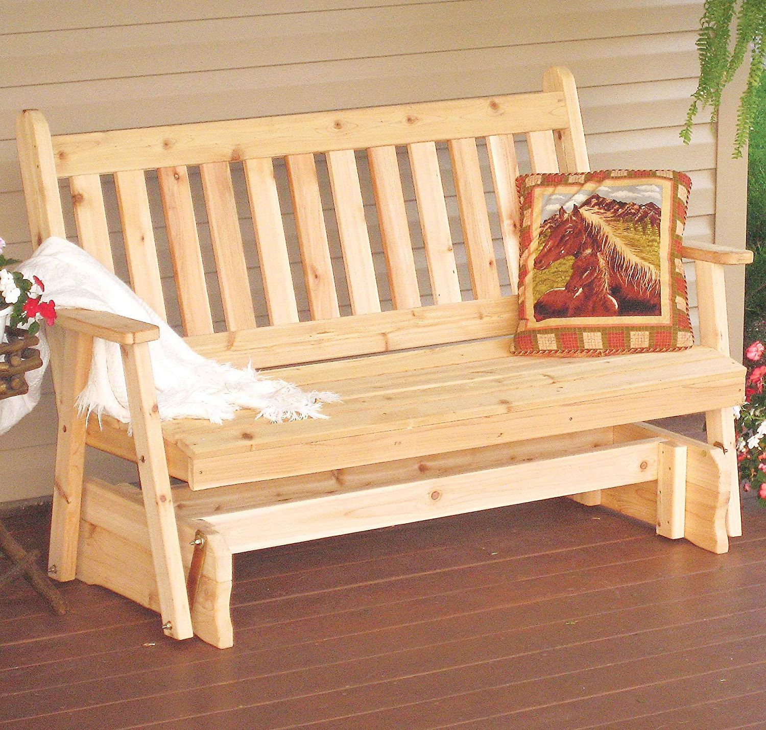 Cedar Porch Glider Bench Outdoor Patio Gliding Bench, 2 Person Wooden  Loveseat Benches, Amish Made Furniture Weather Resistant Western Red Cedar  Wood, Intended For Favorite Classic Glider Benches (Gallery 17 of 30)