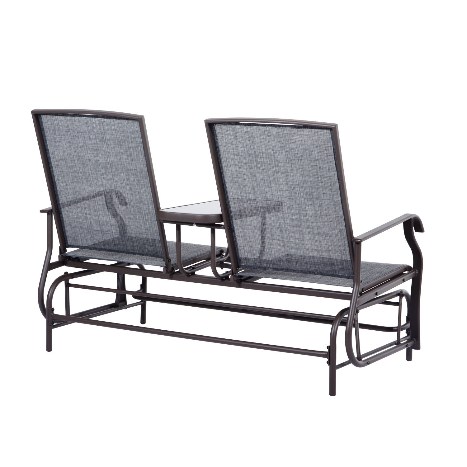 Center Table Double Glider Benches In Most Recently Released Outsunny 2 Person Outdoor Mesh Fabric Patio Double Glider (Gallery 7 of 30)