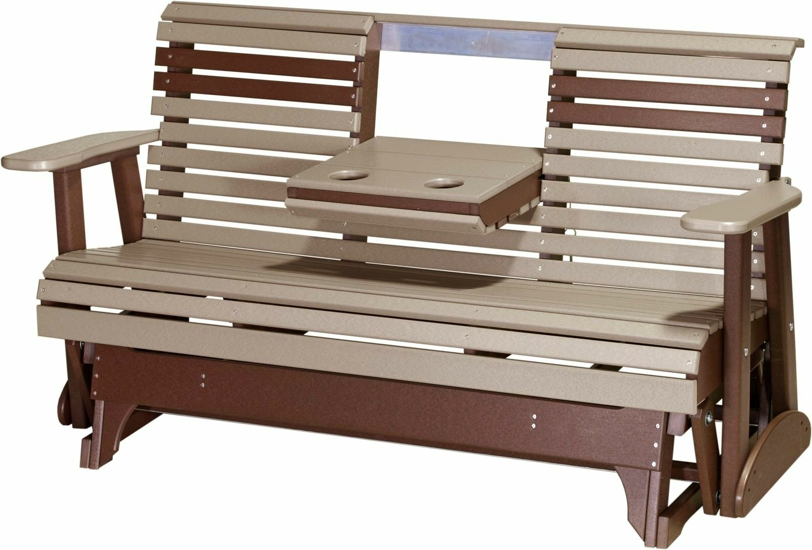 Center Table Double Glider Benches Intended For Well Known Outdoor Poly Lumber 5 Ft Rollback Glider *weatherwood & Brown* Recycled  Plastic (Gallery 21 of 30)