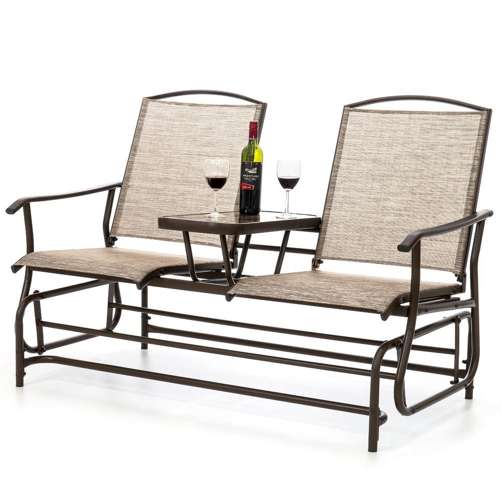 Center Table Double Glider Benches Throughout Best And Newest Outdoor Patio 2 Person Mesh Fabric Double Glider W/ Tempered (Gallery 5 of 30)