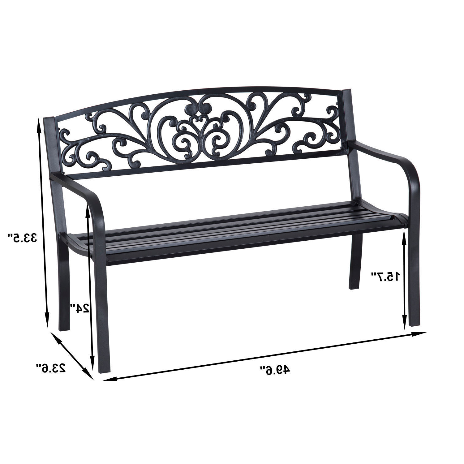 Center Table Double Glider Benches Throughout Most Recently Released Patio Park Garden Bench Porch Path Chair Outdoor Lawn Garden Black 2 Seat (Gallery 28 of 30)