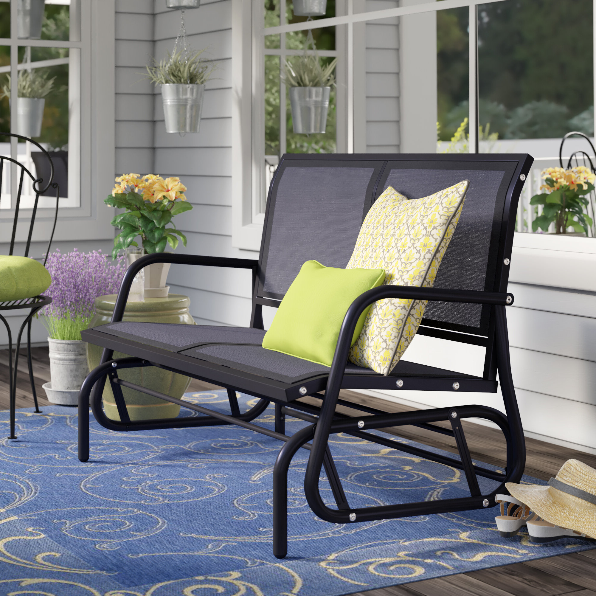 Center Table Double Glider Benches Throughout Well Known Patio Glider With Table (View 22 of 30)
