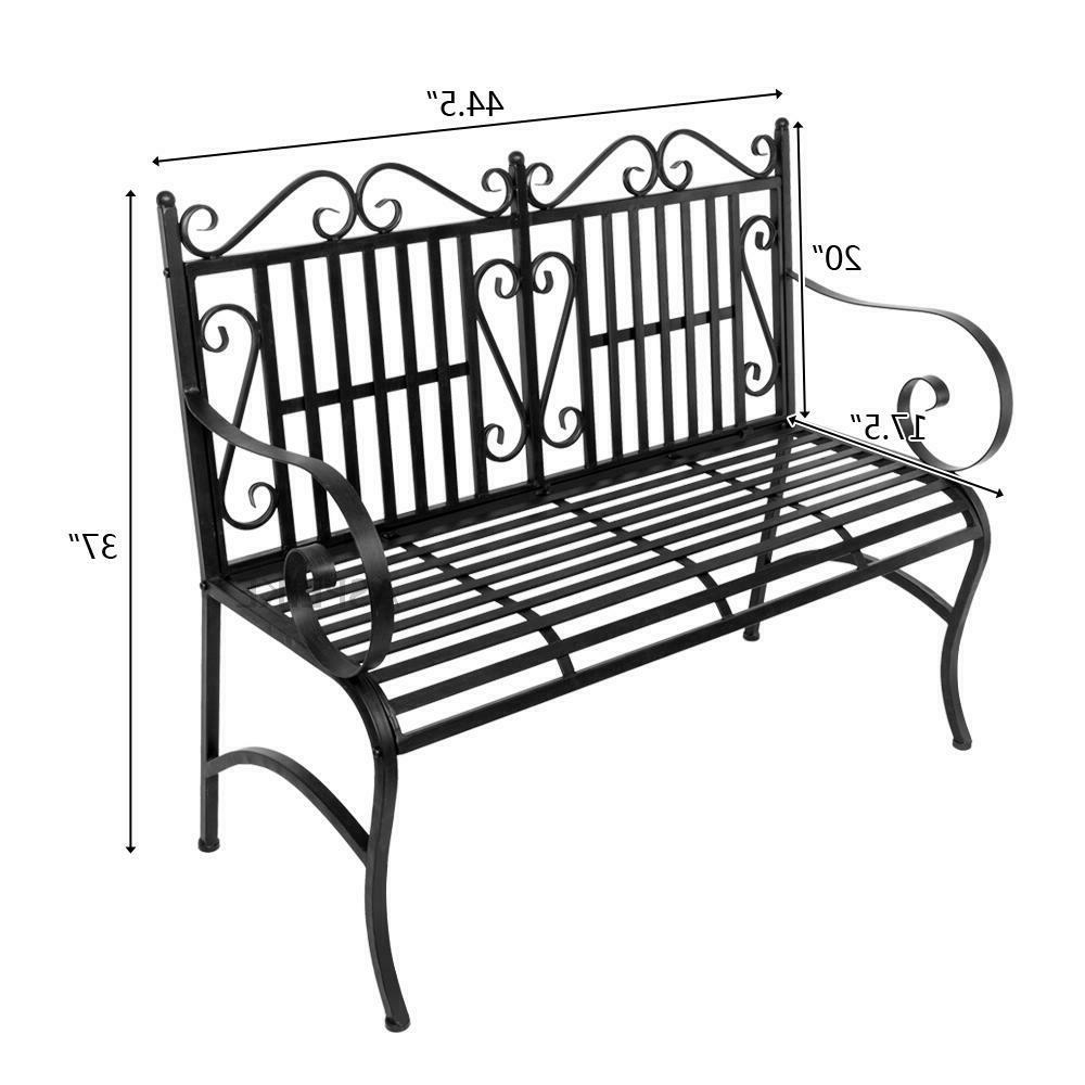 Center Table Double Glider Benches With Newest Black Foldable Porch Chair Seat Garden Bench With Steel Frame Solid  Construction (Gallery 23 of 30)