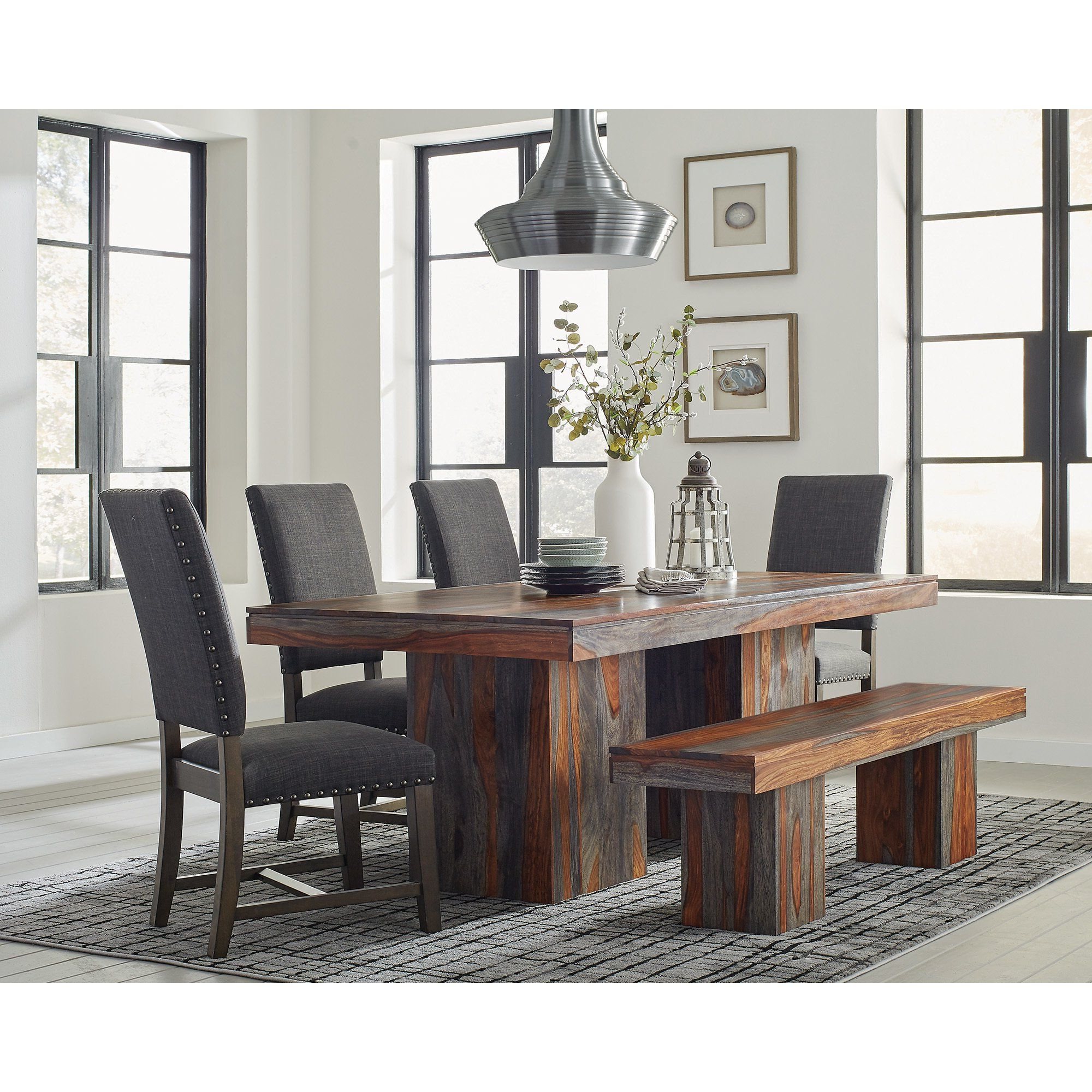 Charcoal Transitional 6 Seating Rectangular Dining Tables In Trendy Carbon Loft Ramsay 6 Piece Dining Set (grey), Gray In (View 26 of 30)