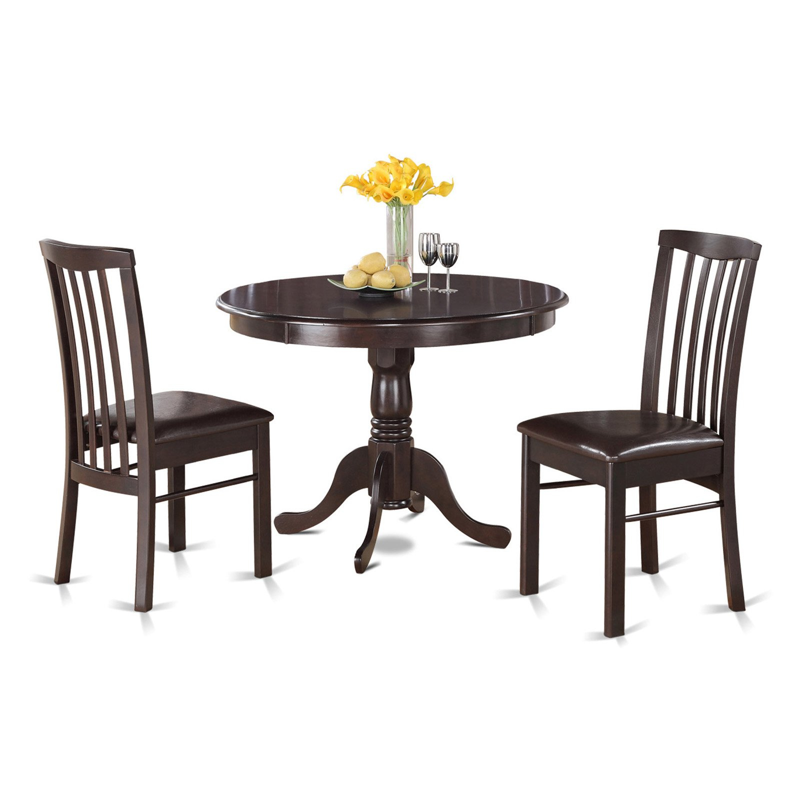 Charcoal Transitional 6 Seating Rectangular Dining Tables Pertaining To Most Recently Released East West Furniture Hartland 3 Piece Round Pedestal Dining (View 7 of 30)