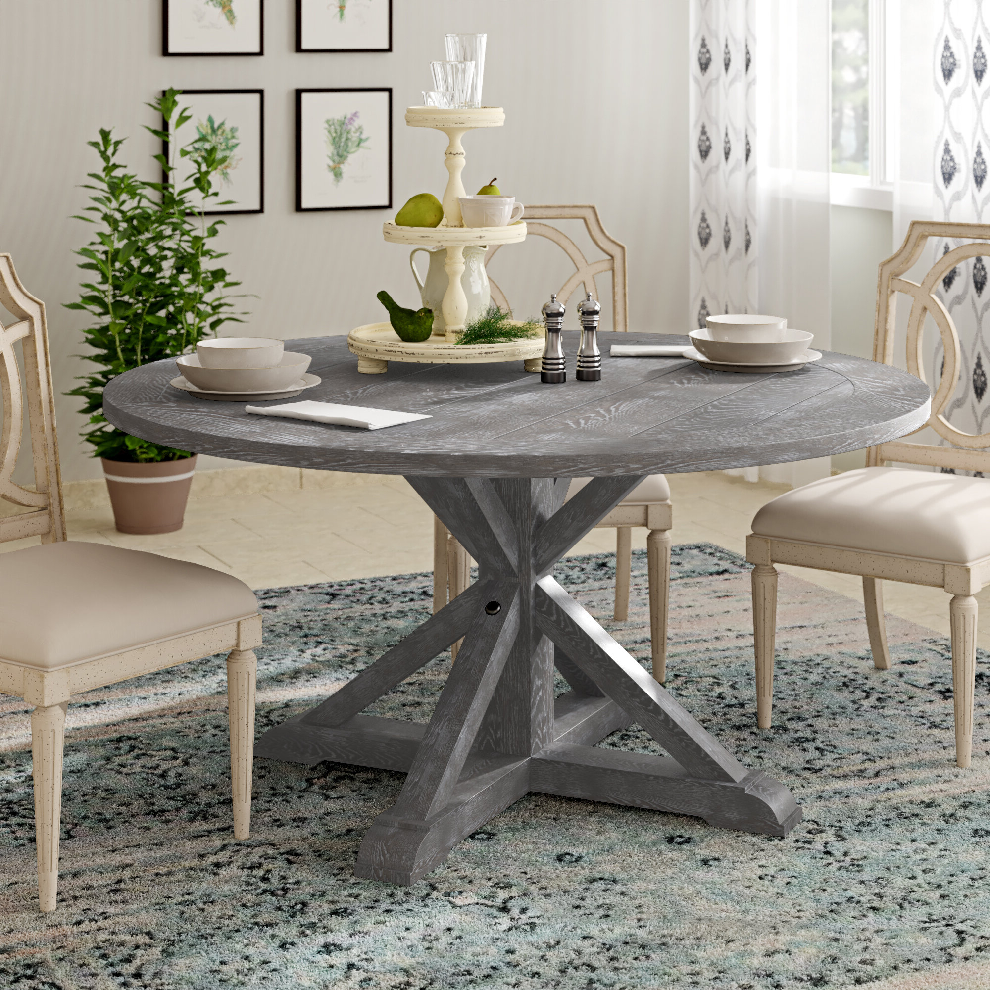 "Charcoal Transitional 6 Seating Rectangular Dining Tables Throughout Favorite Emerald Home Paladin Rustic Charcoal Grey 60"" Round Dining Table With 60"" Top And Farmhouse Trestle Base (View 21 of 30)"