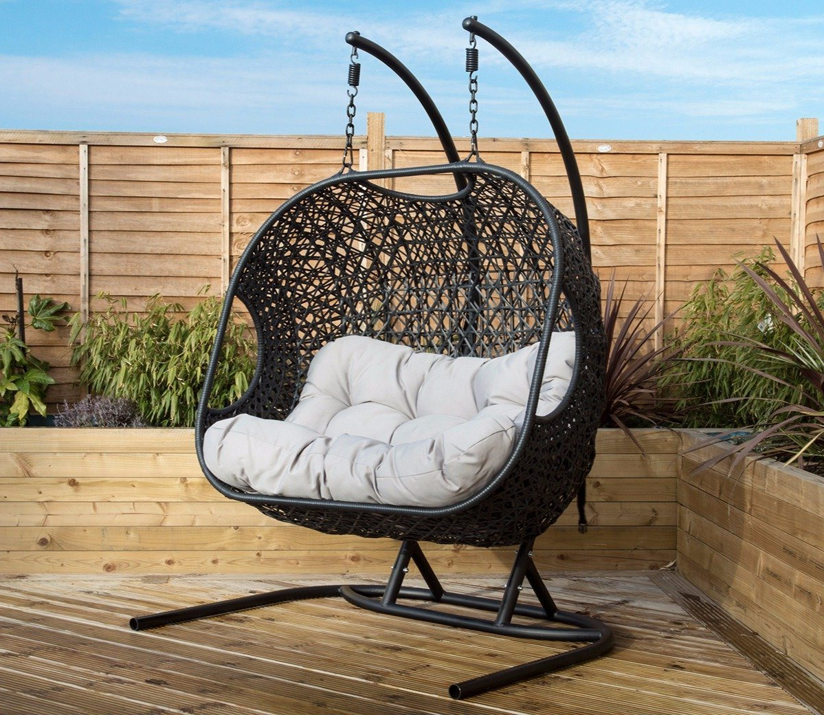 Charles Bentley Double Rattan Swing Chair Intended For Fashionable Rattan Garden Swing Chairs (Gallery 1 of 31)