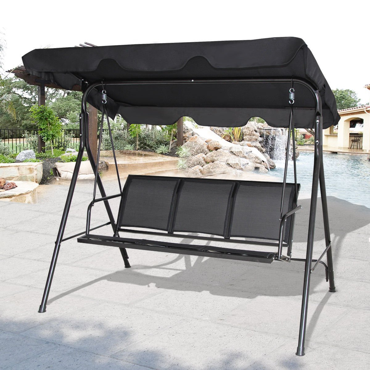 Cheap Patio 3 Person Swing, Find Patio 3 Person Swing Deals Inside Favorite 2 Person Hammock Porch Swing Patio Outdoor Hanging Loveseat Canopy Glider Swings (View 20 of 30)