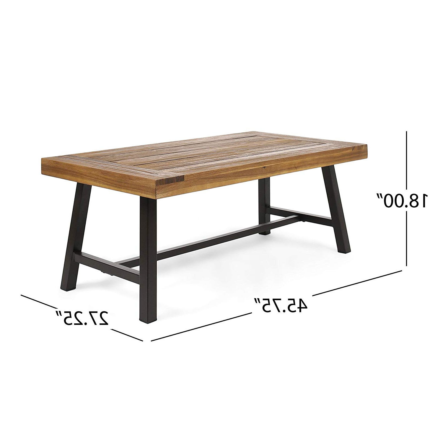 Christopher Knight Home 304571 Carlisle Outdoor Acacia Wood Coffee Table, Sandblast Finish/rustic Metal Within Well Known Acacia Wood Top Dining Tables With Iron Legs On Raw Metal (View 10 of 30)