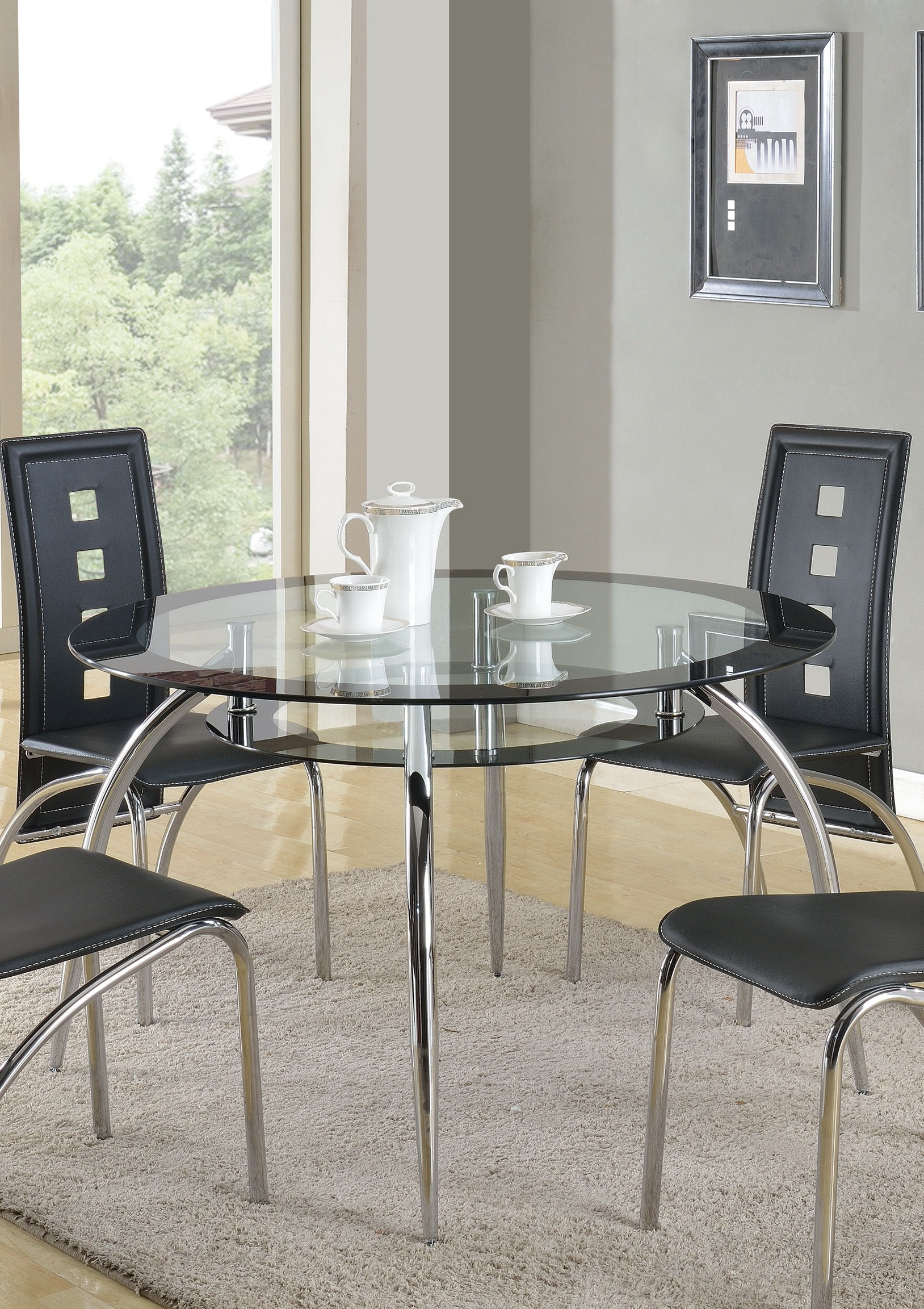 Chrome Contemporary Square Casual Dining Tables Inside Well Known Crown Mark Mila Chrome Plated Dining Table (View 22 of 30)