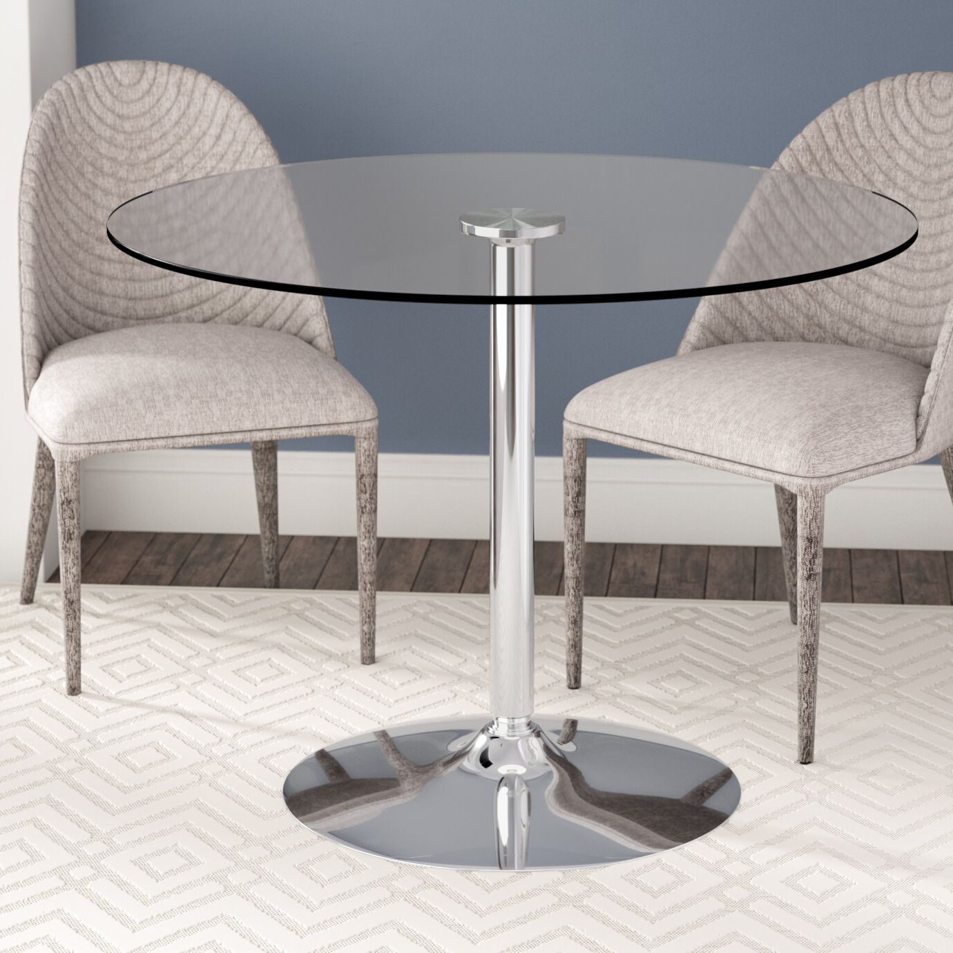 Chrome Contemporary Square Casual Dining Tables Intended For Famous Wade Logan Cavell Round Glass Dining Table & Reviews (Gallery 26 of 30)