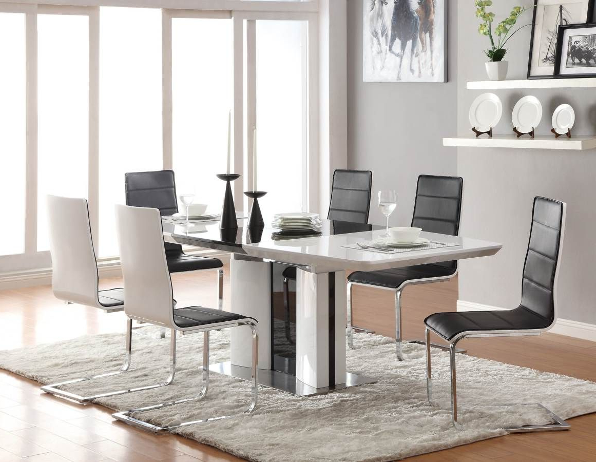 Chrome Contemporary Square Casual Dining Tables Pertaining To Fashionable Broderick Shiny White Contemporary White Dining Set (Gallery 1 of 30)